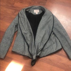 Houndstooth Leather Trim Jacket - Size M